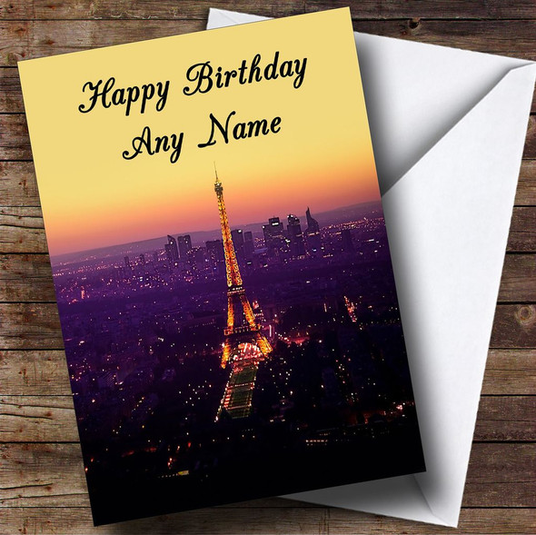 Eiffel Tower Paris France Personalised Birthday Card