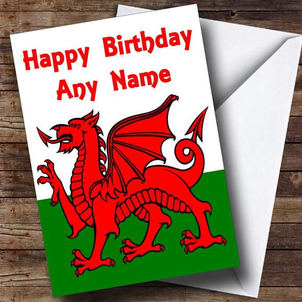Welsh Flag Wales Personalised Birthday Card