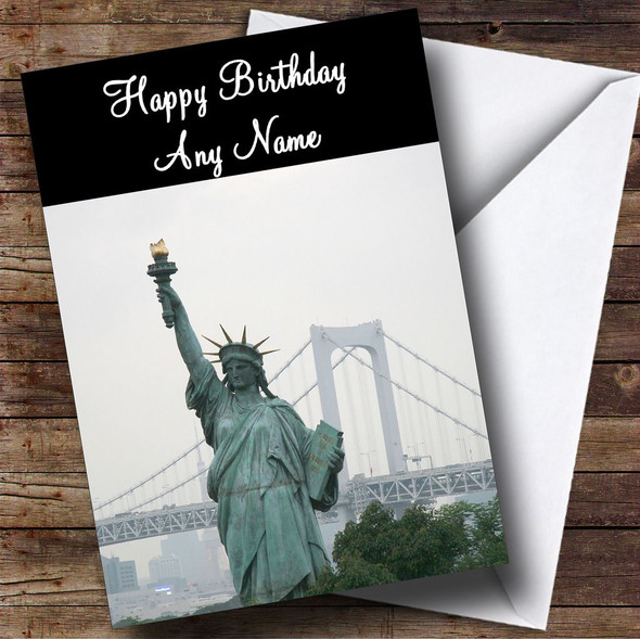 Statue Of Liberty New York America Personalised Birthday Card