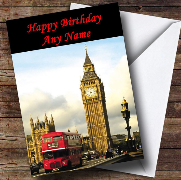 London Big Ben Red Bus Personalised Birthday Card