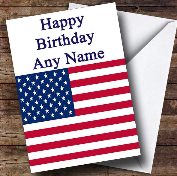 Usa American Flag Personalised Birthday Card