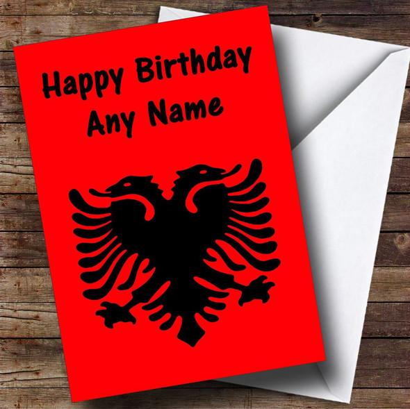 Albanian Flag Albania Personalised Birthday Card
