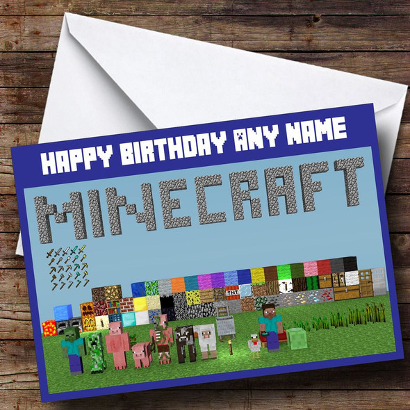 Minecraft Characters Personalised Birthday Card