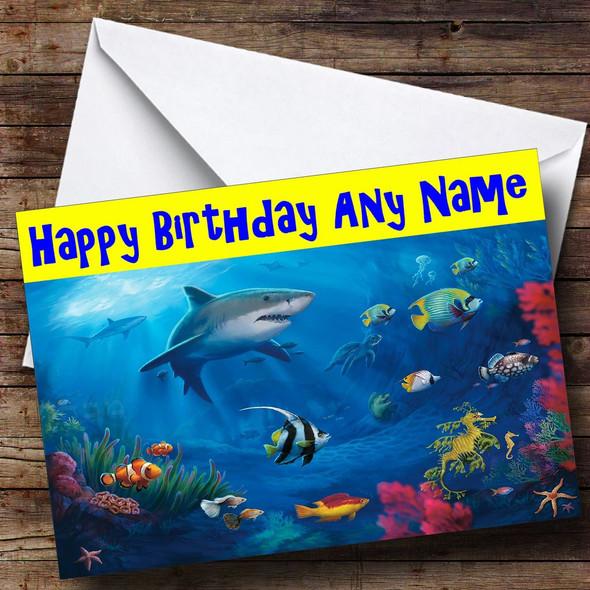 Under The Sea Shark Personalised Birthday Card