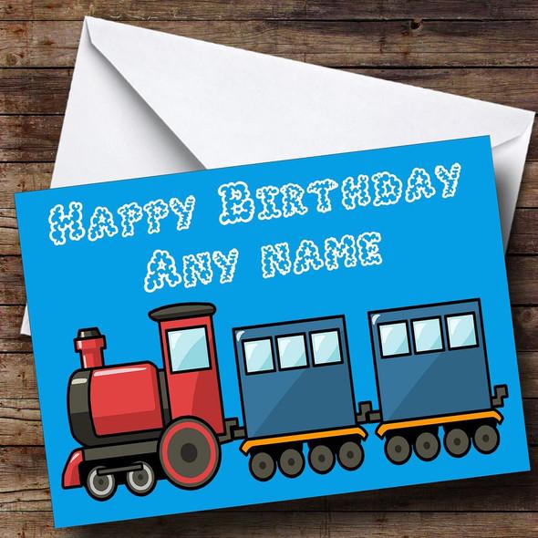 Blue Train Personalised Birthday Card