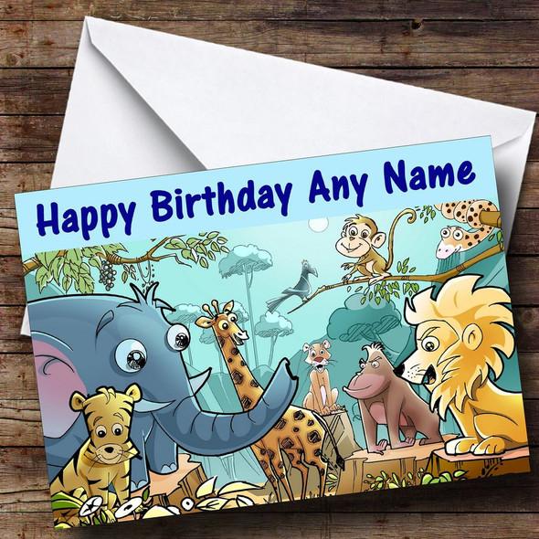 Jungle Animals Blue Personalised Birthday Card