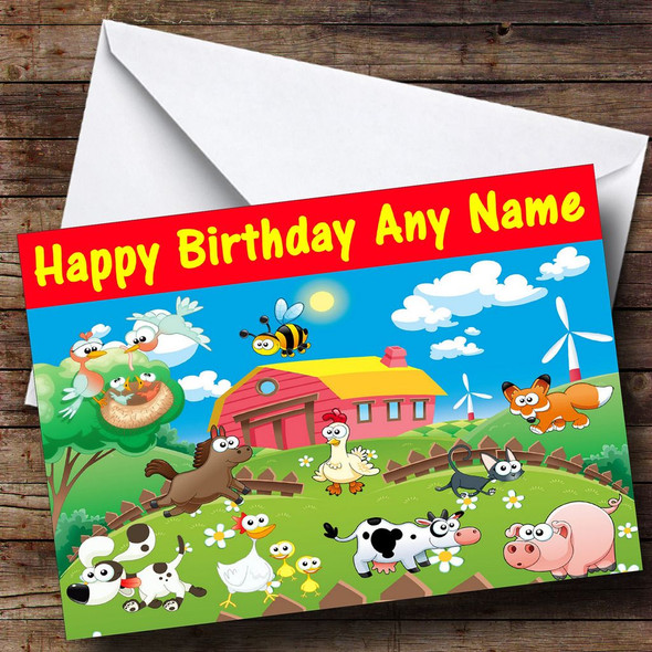Farm Animals Personalised Birthday Card