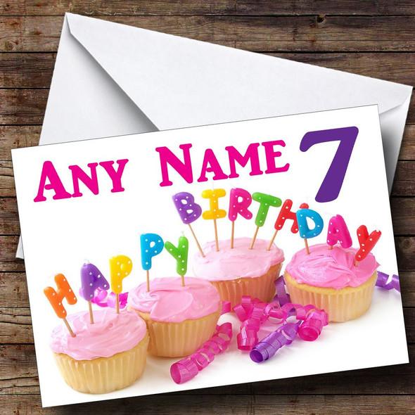 Cupcake Birthday Cake Personalised Birthday Card
