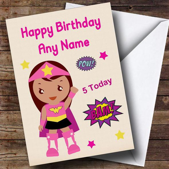Superhero Pink Girl Any Age Personalised Children's Birthday Card