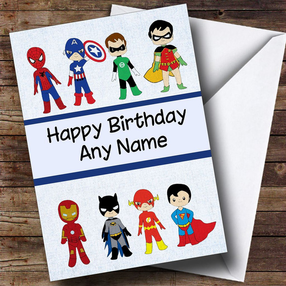 Superhero Collection Personalised Children's Birthday Card