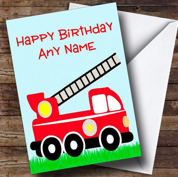 Fire Engine Fireman Personalised Birthday Card