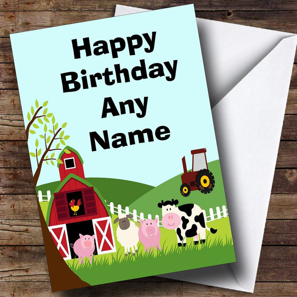 Farm Animals And Tractor Personalised Birthday Card