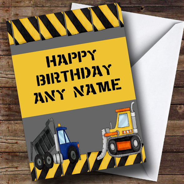 Digger And Tractor Construction Personalised Birthday Card