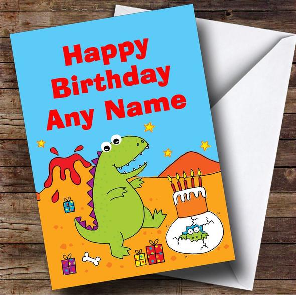 Children's Cute Dinosaur Personalised Birthday Card