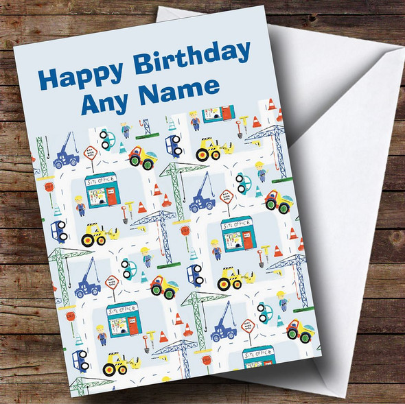 Children's Construction Site Digger Personalised Birthday Card