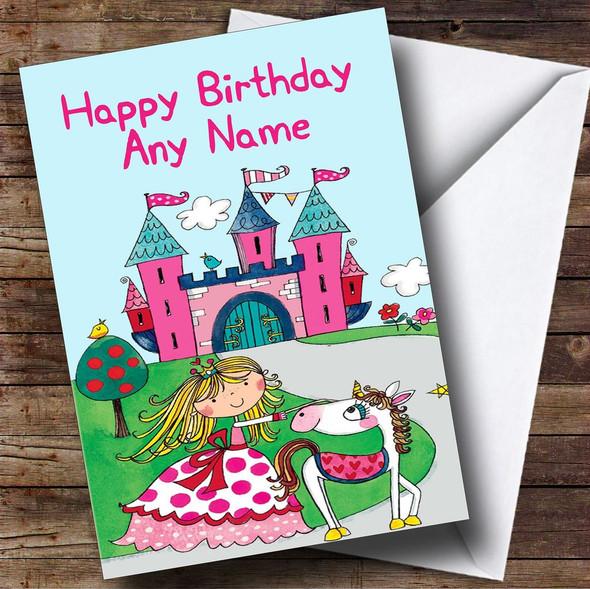 Princess And Unicorn Personalised Birthday Card