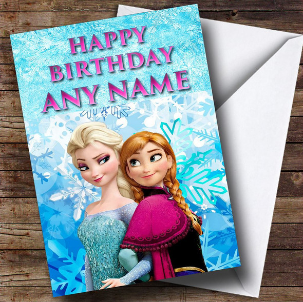 Elsa And Anna Princess Frozen Personalised Birthday Card