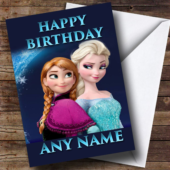 Blue Frozen Elsa And Anna Personalised Birthday Card