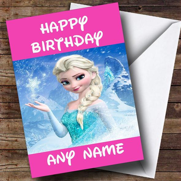 Pink Frozen Princess Elsa Personalised Birthday Card