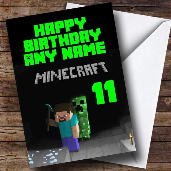 Minecraft Black Personalised Birthday Card