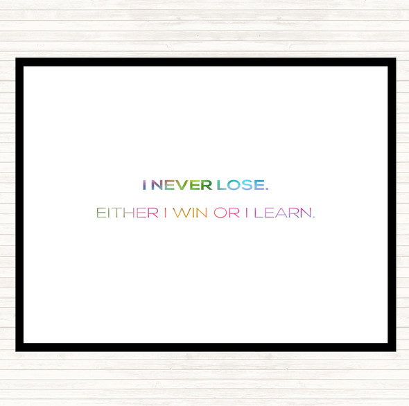 Win Or Learn Rainbow Quote Mouse Mat Pad