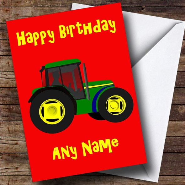 Green Tractor Personalised Birthday Card