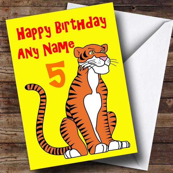 Tiger Cartoon Personalised Birthday Card