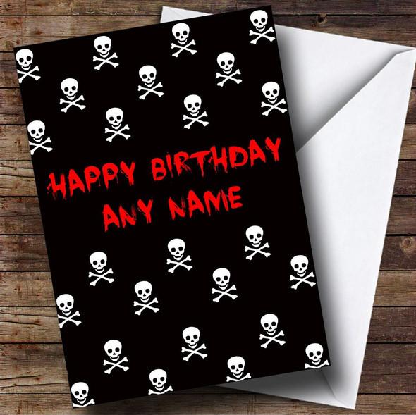 Black & White Skull And Crossbones Card Personalised Birthday Card