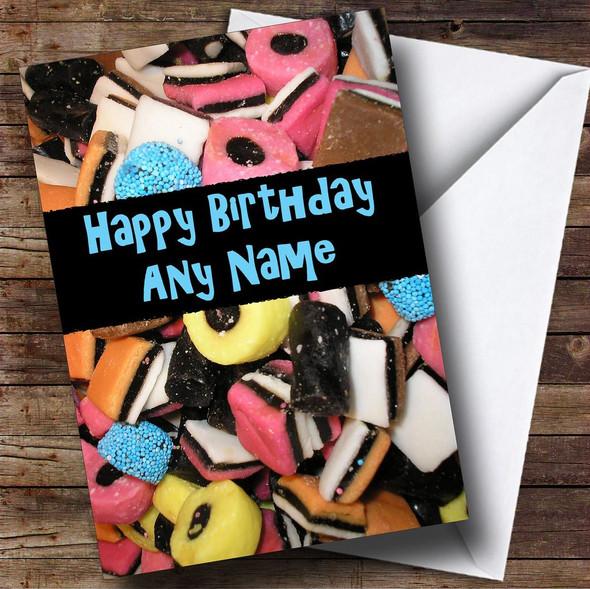 Liquorice Allsorts Sweets Personalised Birthday Card