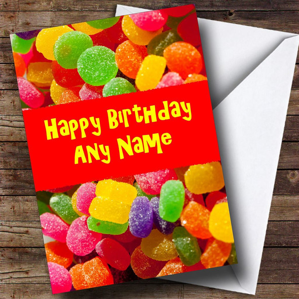 Jelly Tots Sweets Personalised Birthday Card