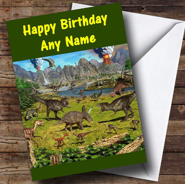 Dinosaur Land Personalised Birthday Card