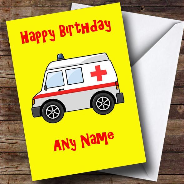Ambulance Cartoon Personalised Birthday Card