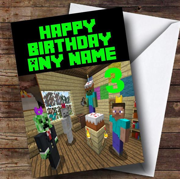 Minecraft Party  Personalised Children's Birthday Card
