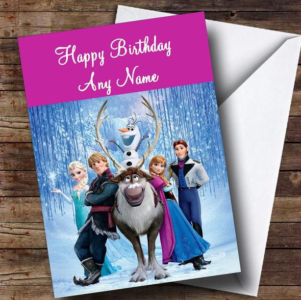 Frozen Pink  Personalised Children's Birthday Card