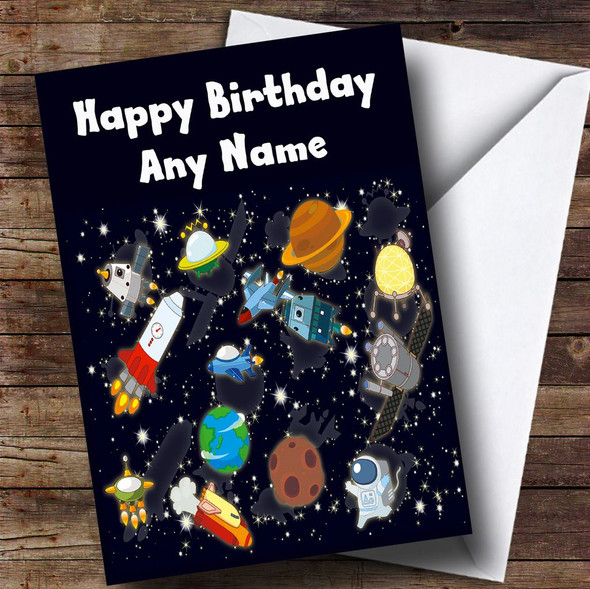 Outer Space Rockets Planets Spaceman Personalised Children's Birthday Card