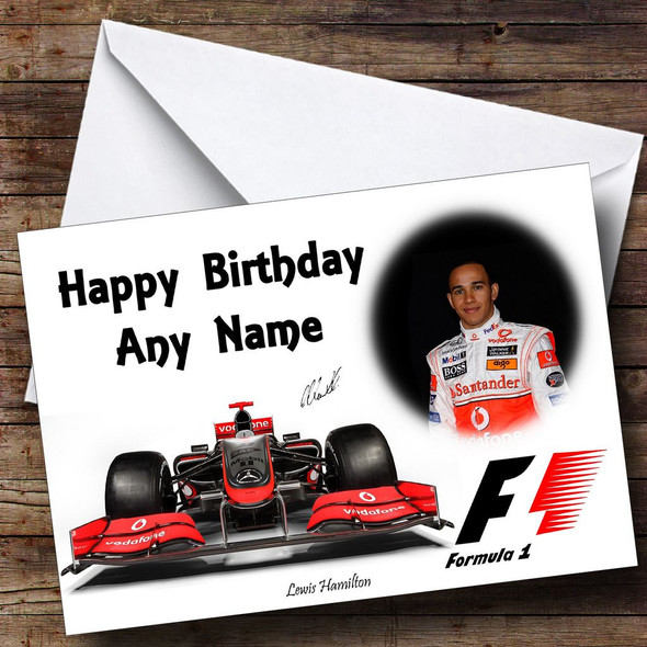 Lewis Hamilton McLaren Personalised Birthday Card