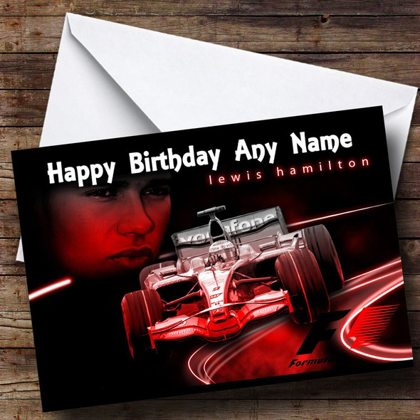 Lewis Hamilton Old Car Personalised Birthday Card