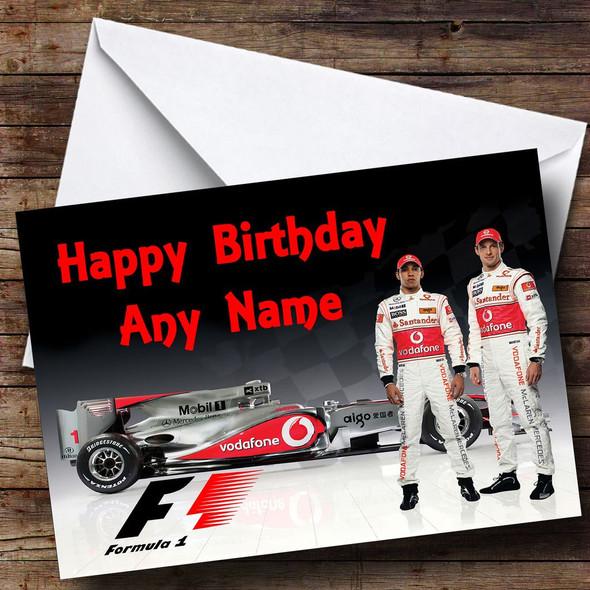 Jensen Button & Lewis Hamilton Formula One  Personalised Birthday Card