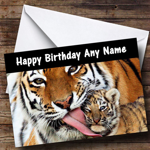 Tiger & Cub Personalised Birthday Card