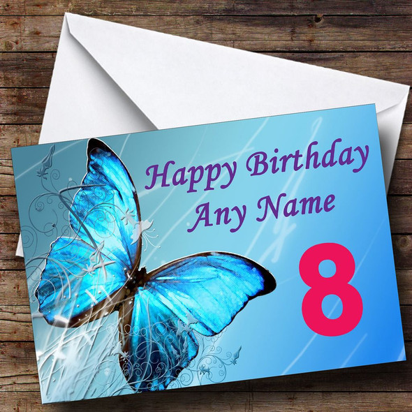Blue Butterfly Personalised Birthday Card