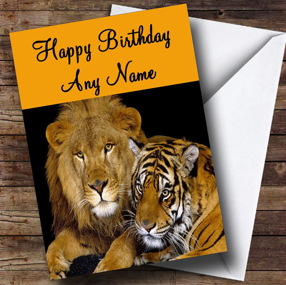 Lion & Tiger Personalised Birthday Card