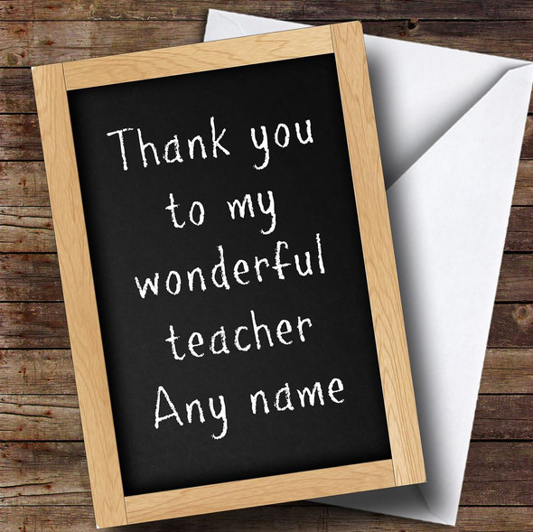 Chalkboard Teacher Personalised Thank You Card