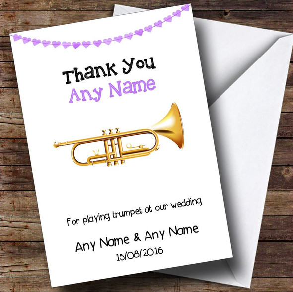 Thank You For Playing Trumpet At Our Wedding Personalised Thank You Card