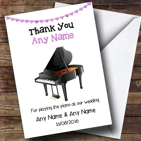 Thank You For Playing Piano At Our Wedding Personalised Thank You Card