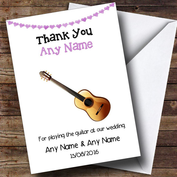 Thank You For Playing Guitar At Our Wedding Personalised Thank You Card