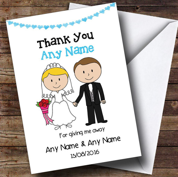 Thank You For Giving Me Away Male Personalised Thank You Card