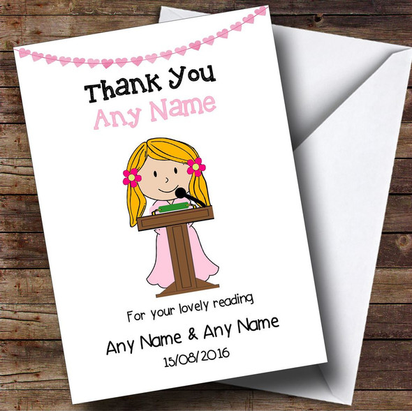 Thank You For Doing A Reading At Our Wedding Girl Personalised Thank You Card