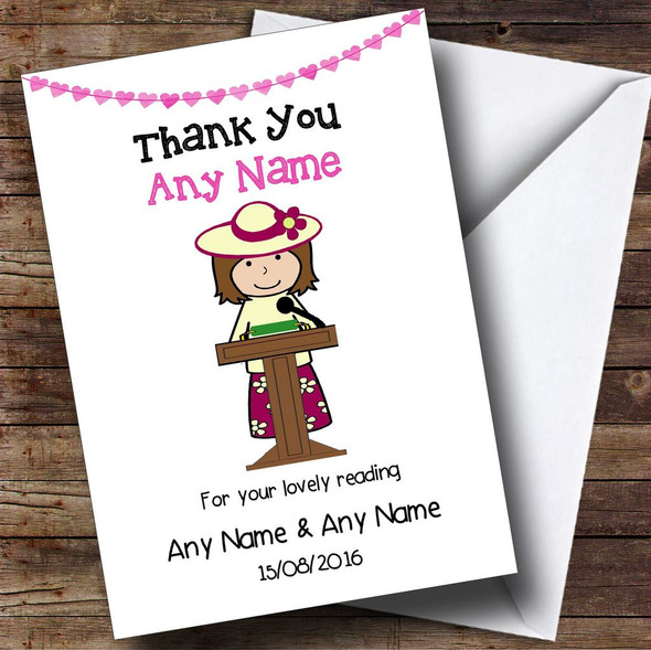 Thank You For Doing A Reading At Our Wedding Female Personalised Thank You Card
