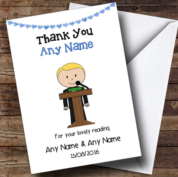Thank You For Doing A Reading At Our Wedding Boy Personalised Thank You Card