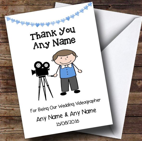 Thank You For Being Our Wedding Videographer Male Personalised Thank You Card